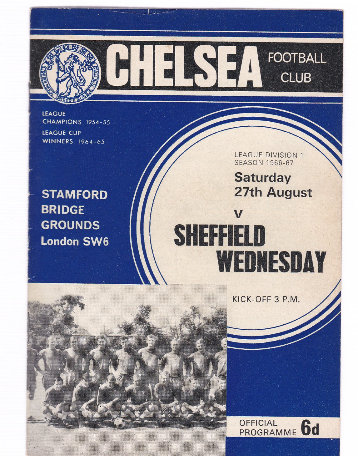 Chelsea v Sheffield Wednesday 1966 August 27th League