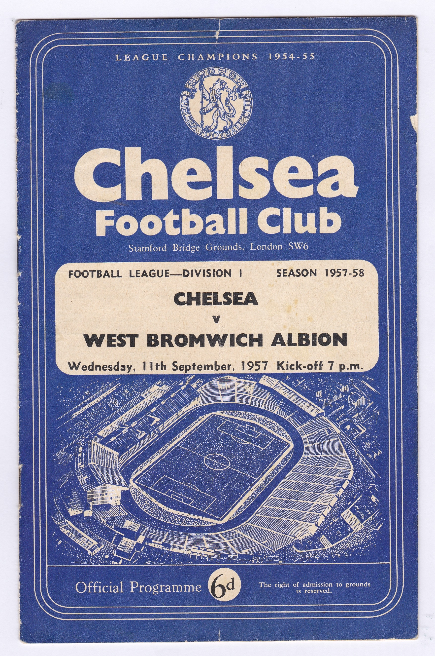 Chelsea v West Bromwich Albion 1957 September 11th vertical crease