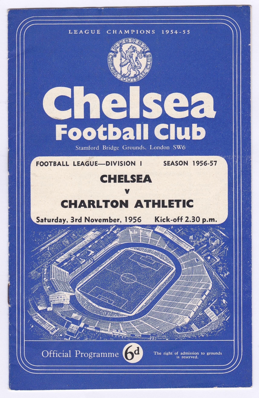 Chelsea v Charlton Athletic 1956 November 3rd Div. 1 score in pencil