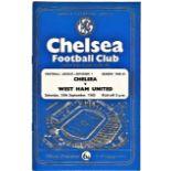 Chelsea v West Ham United 1960 September 10th League vertical crease