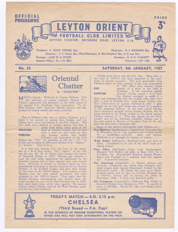Leyton Orient v Chelsea 1957 January 5th FA Cup Round 3 horizontal crease