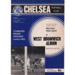 Chelsea v West Bromwich Albion 1967 April 10th League vertical crease pen mark on coupon