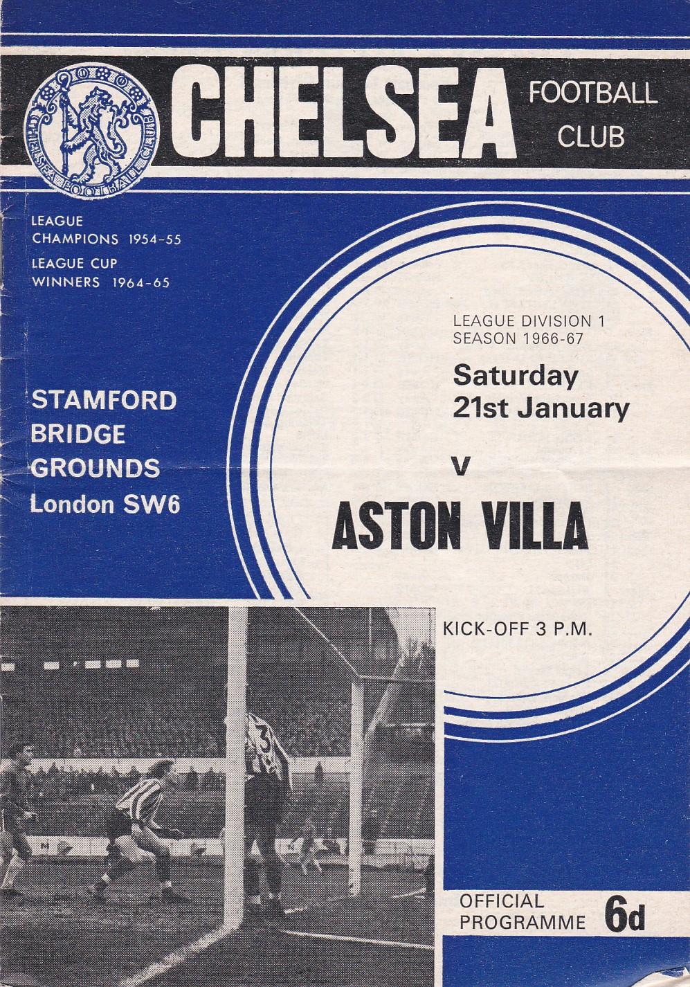 Chelsea v Aston Villa 1967 January 21st League horizontal crease coupon removed back