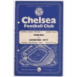 Chelsea V Leicester City 1958 October 25th Div. 1 team change in pen hole punched left