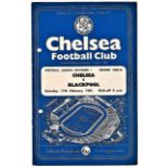 Chelsea v Blackpool 1961 February 11th vertical crease hole punched left