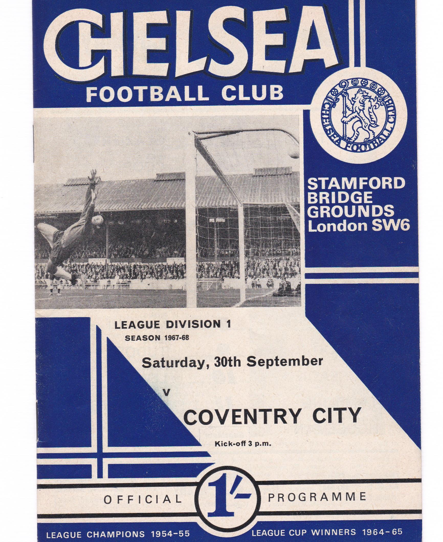 Chelsea v Coventry City 1967 September 30th League
