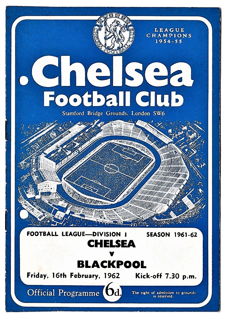 Chelsea v Blackpool 1962 February 16th League team change in pen hole punched left