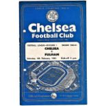 Chelsea v Fulham 1961 February 4th League team change in pen hole punched left
