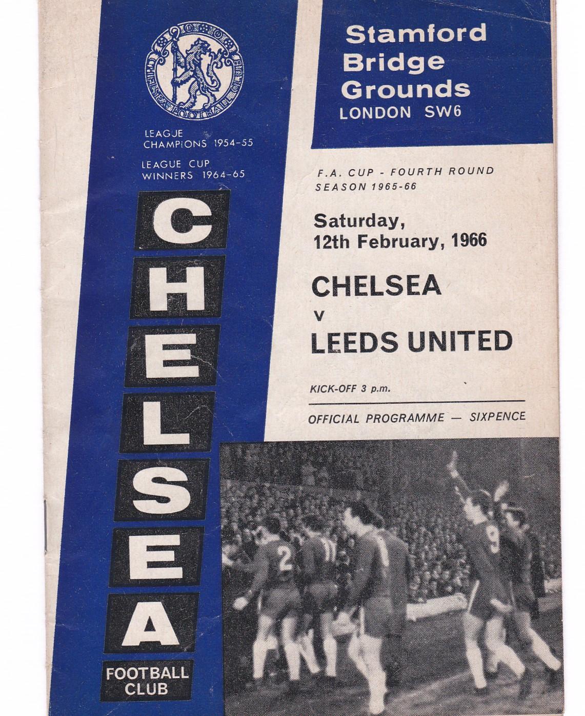 Chelsea v Leeds United 1966 February 12th FA Cup Fourth Round