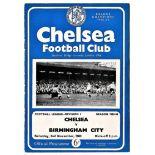 Chelsea v Birmingham City 1963 November 2nd League team change in pen