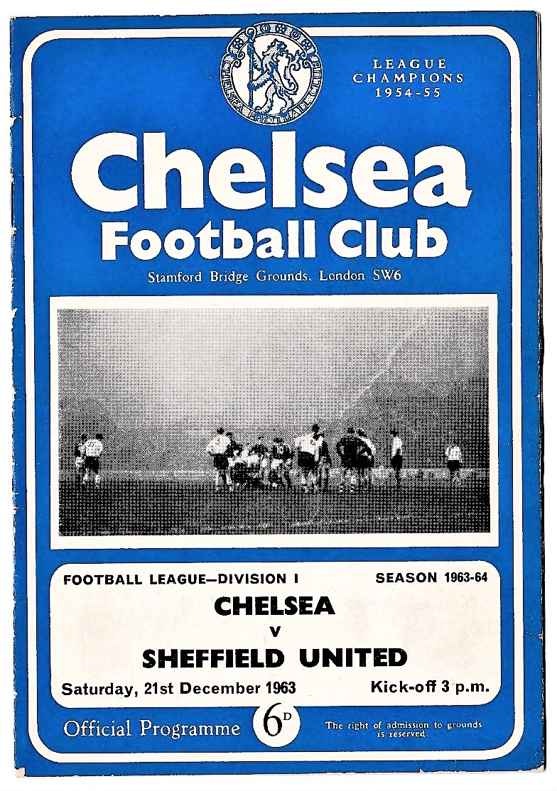 Chelsea v Sheffield United 1963 December 21st League half-time scoreboard in pen