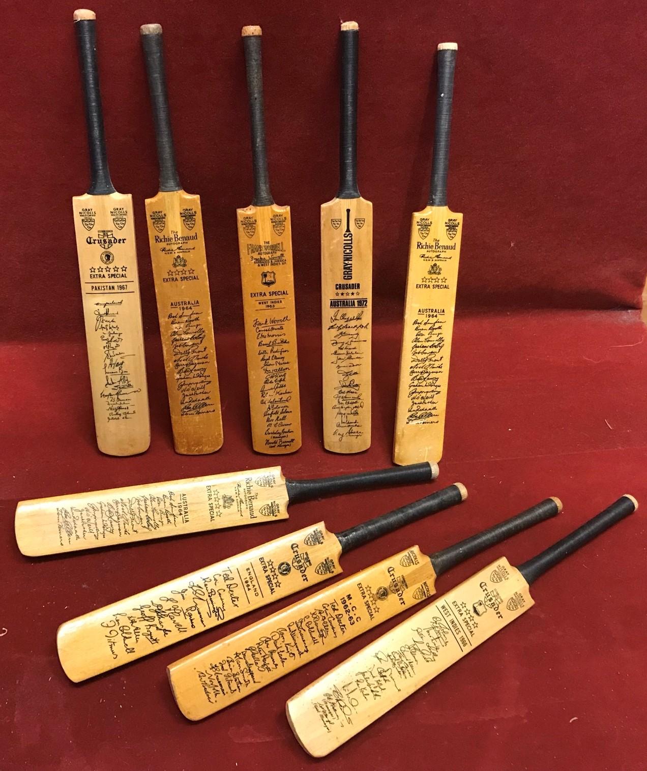 1960s-1970s Miniature Cricket Bats (small) with facsimile autographs - Australia, West Indies etc