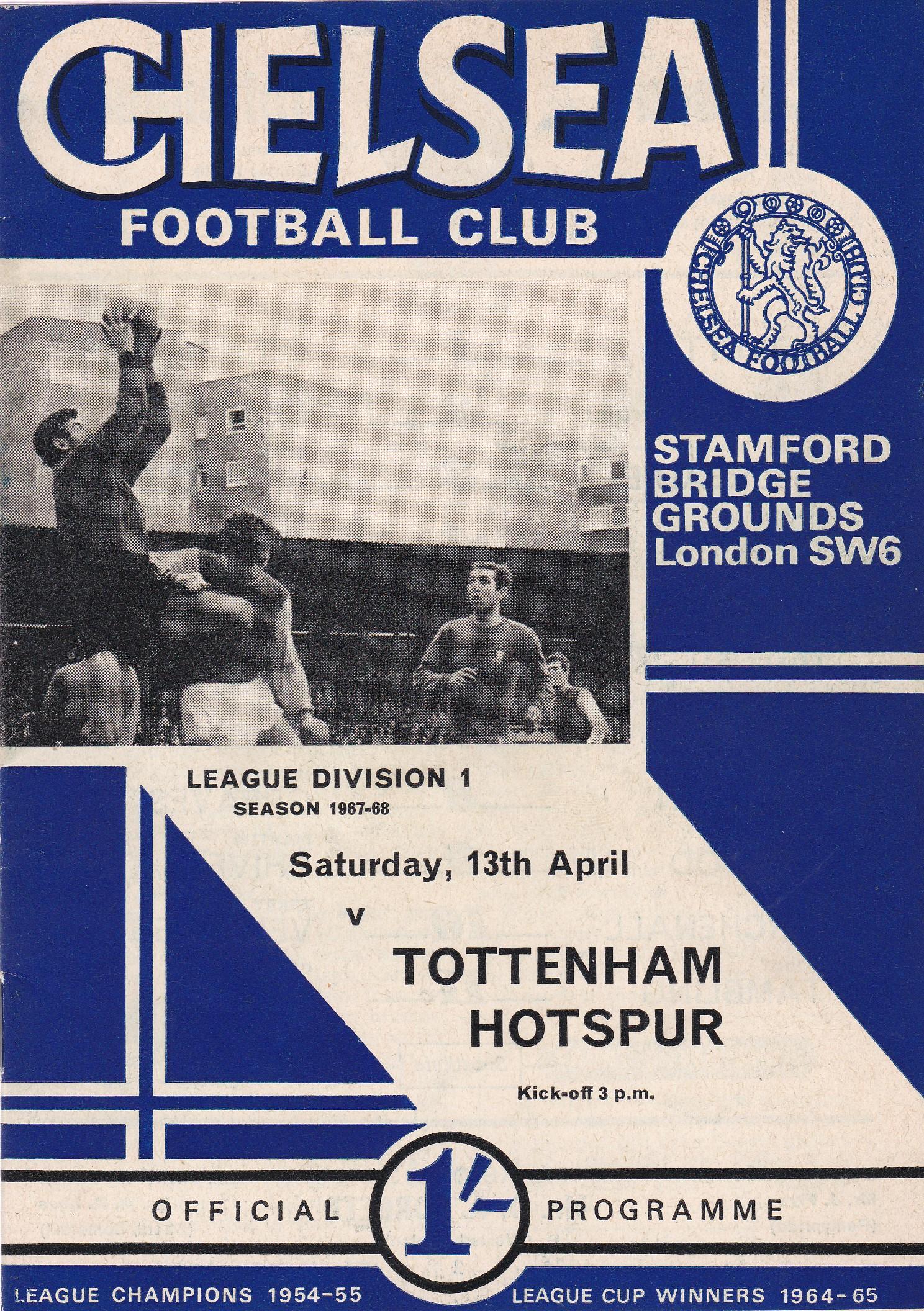 Chelsea v Tottenham Hotspur 1968 April 13th League vertical crease