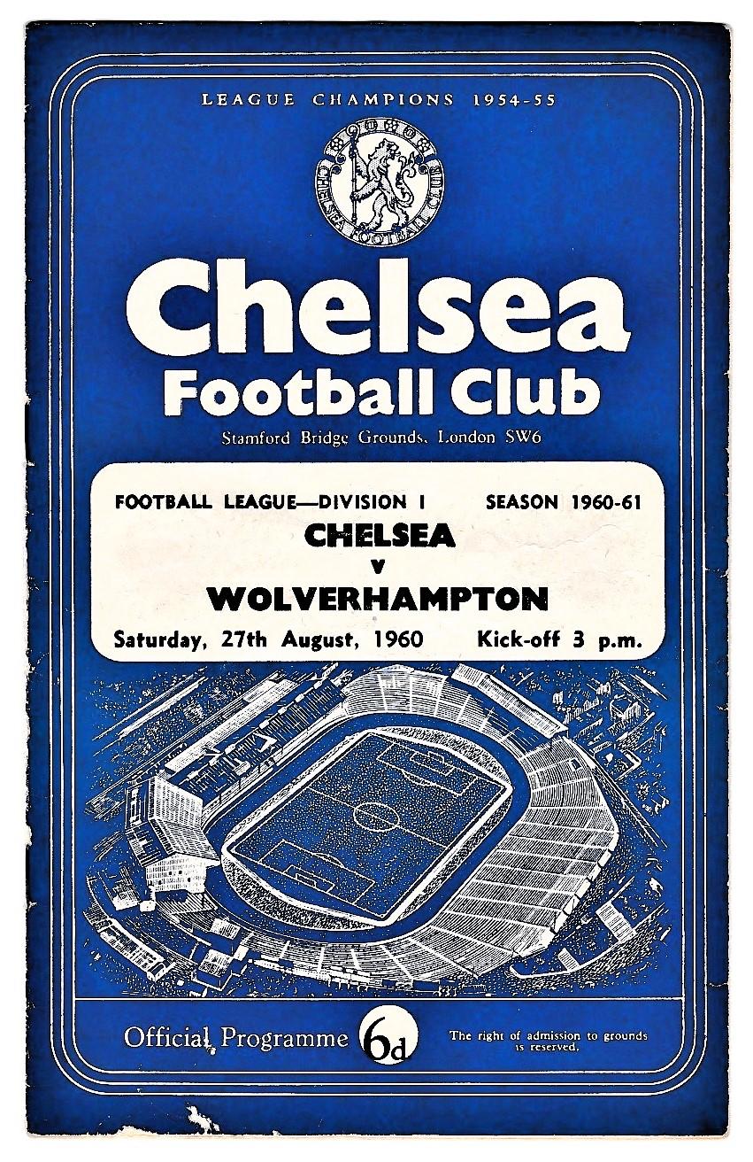 Chelsea v Wolverhampton Wanderers 1960 August 27th League vertical crease