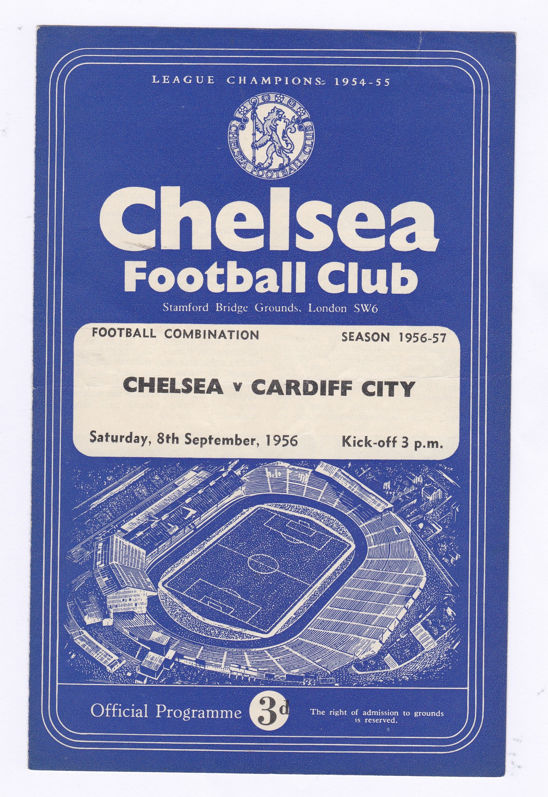 Chelsea v Cardiff City 1956 September 8th Combination horizontal crease scores in pen