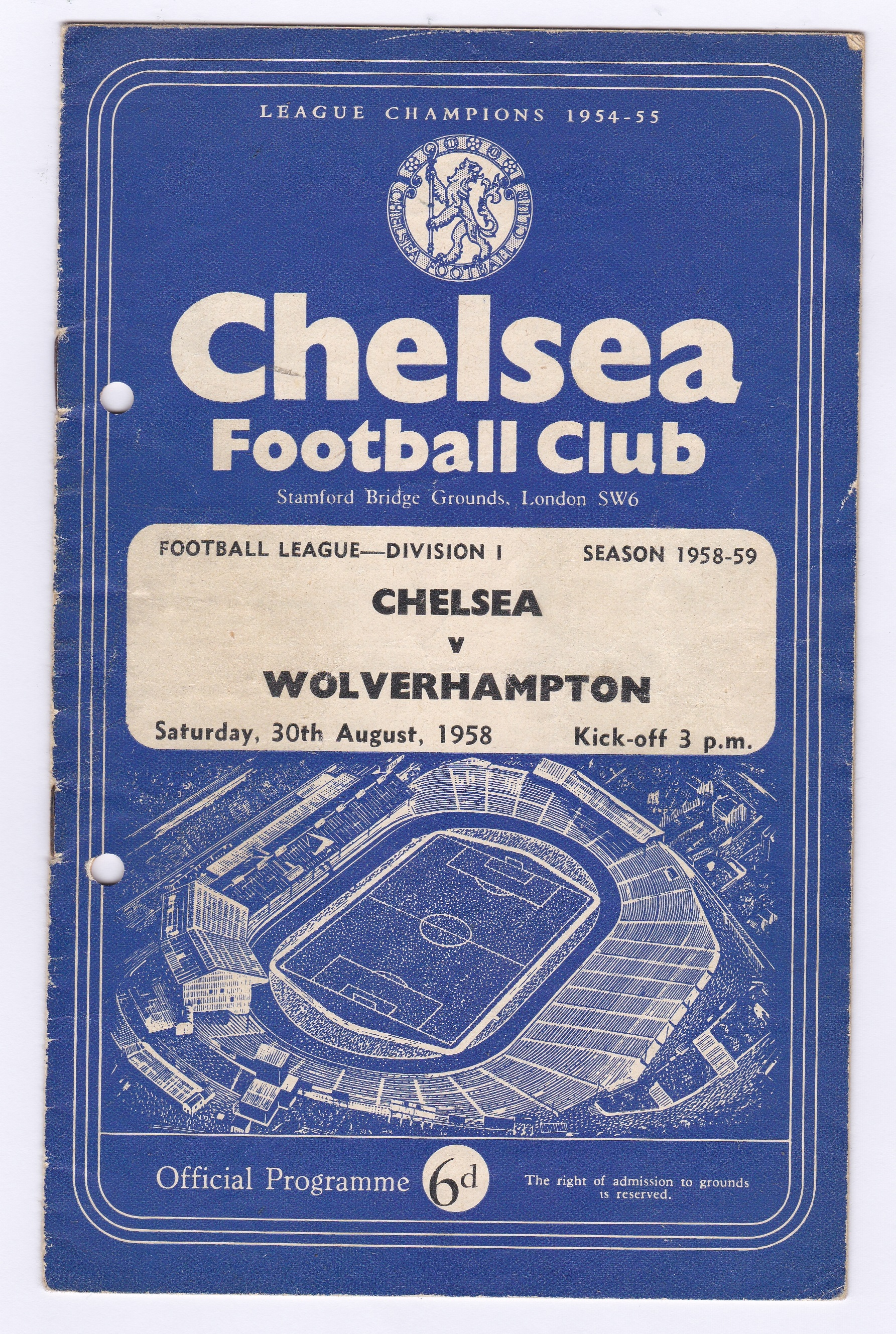 Chelsea v Wolverhampton Wanderers 1958 August 30th Div. 1 team change in pen hole punched left