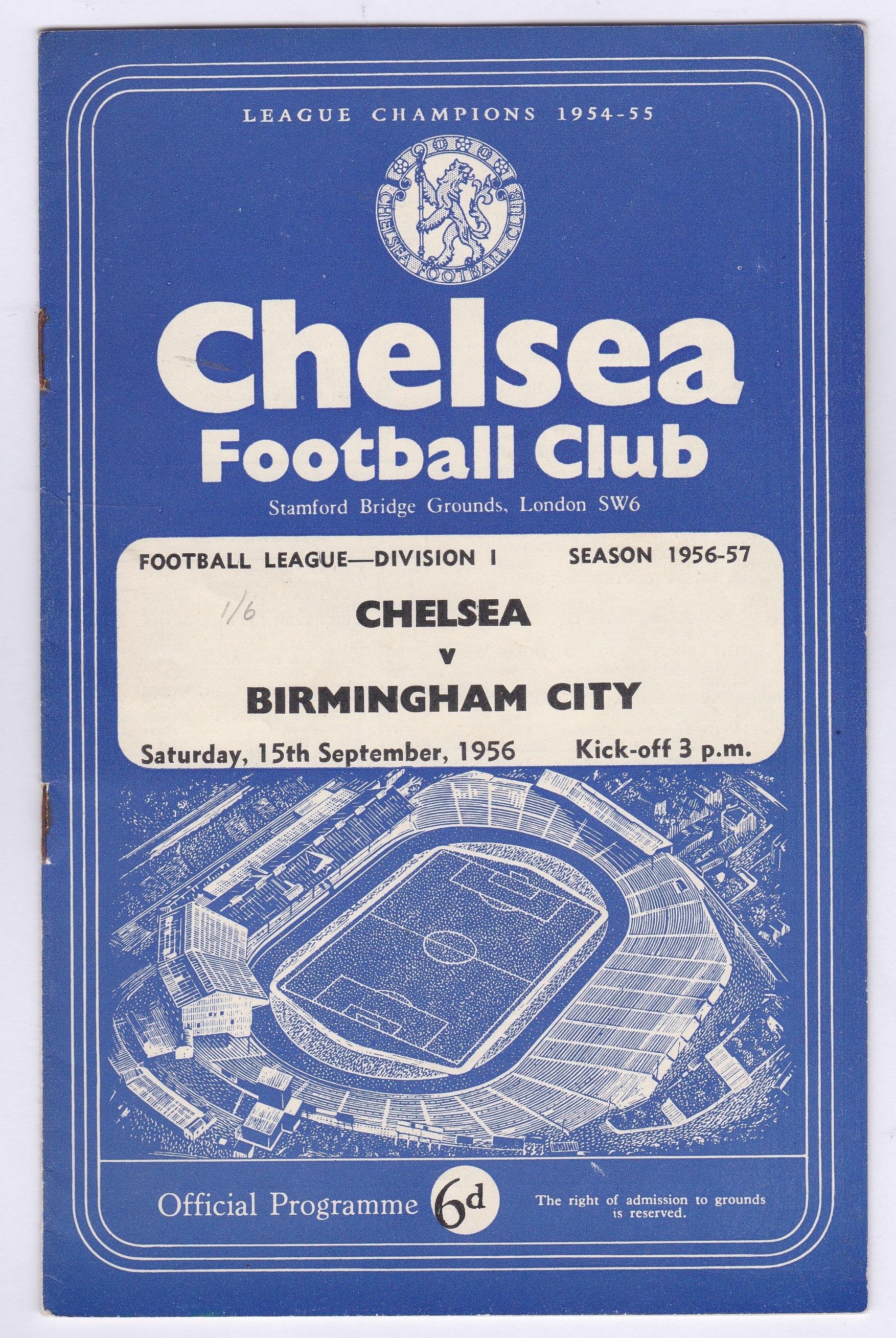 Chelsea v Birmingham City 1956 September 15th Div.1 vertical crease rusty staples