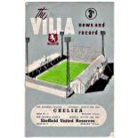 Villa News Chelsea v Aston Villa 1960 August 20th League score in pen; also team for Sheffield