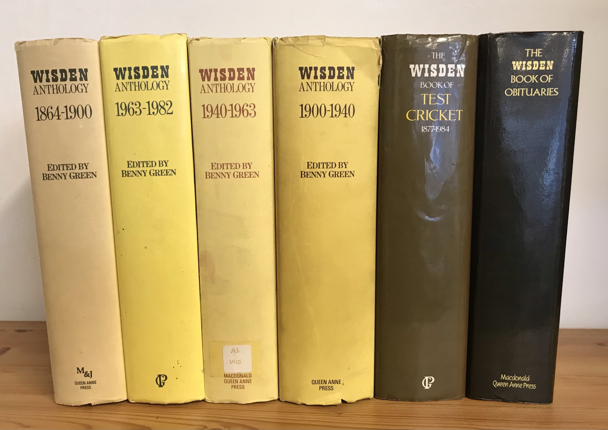 Cricket Wisden Anthologies, Book of Obituaries 1892-1985 and The Wisden Book of Test Cricket 1877-
