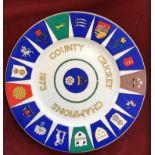 Hampshire Cricket Club Coalport Plate - County Cricket Champions 1973. Arms of the County Cricket
