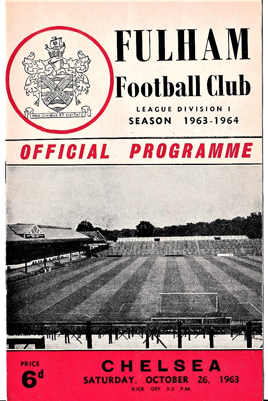 Fulham v Chelsea 1963 October 26th League horizontal crease team change in pencil
