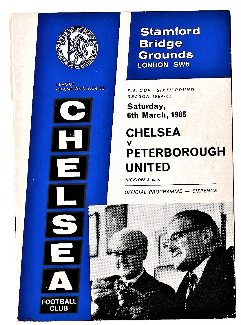 Chelsea v Peterborough United 1965 March 6th FA Cup Sixth Round team change in pen