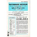 Tottenham Hotspur v Chelsea 1964 February 1st League score in pencil