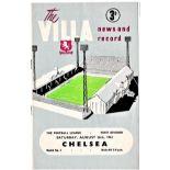 Aston Villa v Chelsea 1961 August 26th League vertical crease scoreboard in pencil
