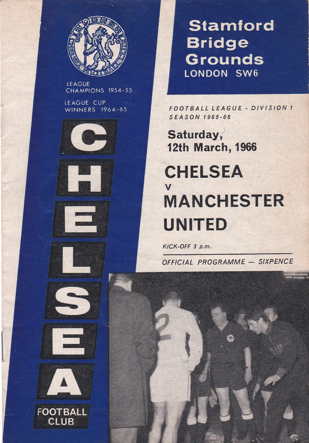 Chelsea v Manchester United 1966 March 12th League