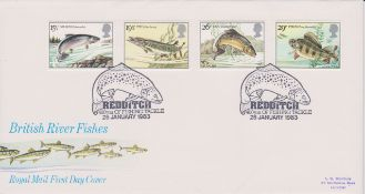 Great Britain 1983 (26 Jan) British River Fish Redditch, 400 Years of Fishing Tackle, Bradbury FDC