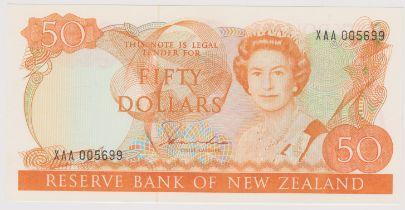 New Zealand 1981-85 Reserve Bank Fifty Dollars, Yellow-Orange, Hardie, P174a, AUNC