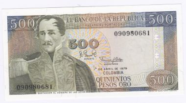 Colombia - 1979 500 Pesos, Ref P420b, Grade AUNC