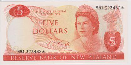 New Zealand 1975-77 Reserve Bank Five Dollars, Orange, Knight, AUNC