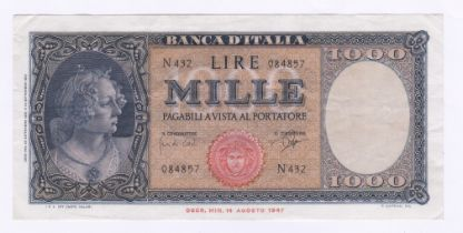 Italy - 1961 (1948 Issue) 1000 Lire Provisional Issue, Signed 'Carci and Ripe', P 88d, GVF