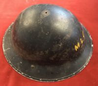 British WWII MLCD (Midlands) Civil Defence Helmet, painted black with 'MLCD' painted on the front in