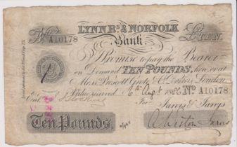 1886 £10 Lynn R's & Norfolk bank. AVF Signed Weston Jarvis