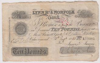 1885 £10 Lynn R's & Norfolk bank (Weston Jarvis) Stoke Ferry datestamp, good fine