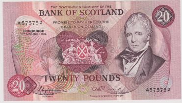 Bank of Scotland £20 8 Nov 1974, SC 145c AUNC, Signatures Lord Clydesmuir (Governor) AM Russell (