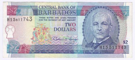 Barbados - 1980 2 Dollars, P30, UNC.