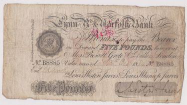 1884 £5 Lynn R's & Norfolk bank (Weston Jarvis) Fine