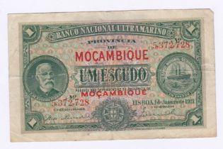 Mozambique - 1921 1 Escudo, Pick 66, Fine