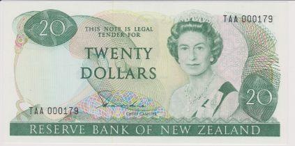 New Zealand Reserve Bank Twenty Dollars, Green, P173a, Hardie, AUNC