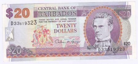 Barbados - 1997 (ND) Twenty Dollars, Ref P50, Grade AUNC