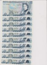 1980 £5, JB Page, prefix 51C, BE 110C consecutive run of 10 AUNC (10)