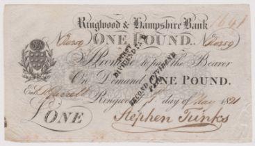 Ringwood & Hampshire Bank 1821 One Pound notes, signed Stephen Junks GVF