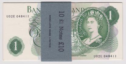 1967 £1 JS Fforde, GOEBEL machine, prefix U02E BE 76f, run of ten consecutive, UNC