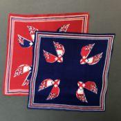 A Pair of Mid century 'Royal Navy and Merchant Navy Ensign' Celebration Handkerchiefs, 100% Silk,