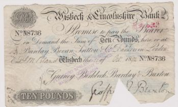 Wisbech & Lincolnshire Bank 1894 £10, signed Geoffrey Buxton, for Gurney, Birbeck, Barclay &
