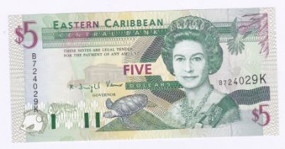 East Caribbean States - 1994 Five Dollars, Suffix 'A' (Antigua). Ref P31 Grade AUNC and East