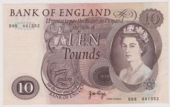 1971 £10 Brown, JB Page, B326, BE 155C, prefix B88 EEF/AUNC